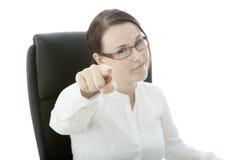 Junge Brunettegeschäftsfrau mit Gläsern wünschen Sie Lizenzfreies Stockfoto