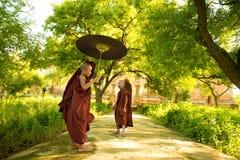 Junge buddhistische Anfängermönche stockfotografie