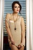 Junge dünne sexy Frau in der braunen Strickjacke gegen das Fenster Lizenzfreie Stockbilder
