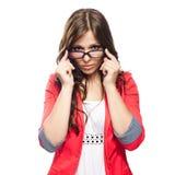 Junge Dame in den Gläsern stockfoto