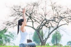 Junge Dame, die Yogaübung Bereich des grünen Feldes im im Freien zeigt die Ruhe ruhig im Meditationsverstand tut lizenzfreies stockfoto