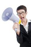 Junge Dame, die zum Lautsprecher schreit Stockfoto