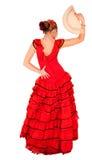 Junge Dame im hispanischen roten Kleid Lizenzfreie Stockfotos