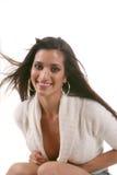 Junge Dame im Weiß stockfotos