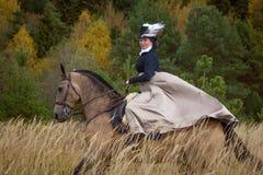 Junge Dame Kleid im des 19. Jahrhunderts, das ein akhal teke Pferd reitet Stockbilder