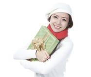 Junge Dame mit einem Geschenk lizenzfreies stockfoto