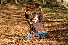 Junge in den Blättern Stockfotografie
