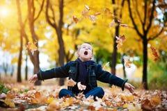 Junge in den gelben Blättern Lizenzfreie Stockbilder