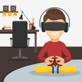 Junge in den Gläsern der virtuellen Realität Stockbild