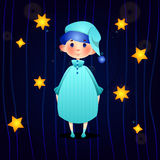 Junge in den Pyjamas stock abbildung