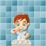 Junge in den Pyjamas, die Zähne putzen stock abbildung