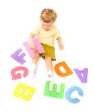 Junge, der Alphabet erlernt Stockfoto