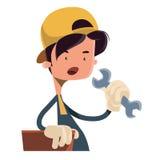 Junge, der Arbeitsgerätillustrationszeichentrickfilm-figur hält vektor abbildung