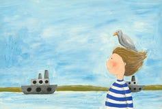 Junge, der auf das Ufer geht Stockfoto