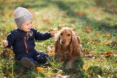 Junge, der auf dem Gras mit einem Hund sitzt Stockfoto