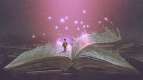 Junge, der auf dem magischen Buch steht stock abbildung