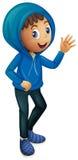 Junge in der blauen Winterjacke Lizenzfreie Stockfotos