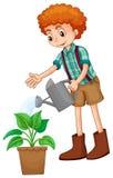 Junge, der die Anlage wässert lizenzfreie abbildung