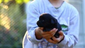 Junge, der draußen seinen kleinen schwarzen Welpen hält stockbild