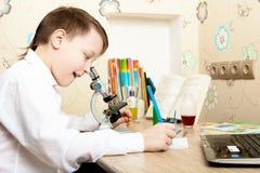 Junge, der durch ein Mikroskop schaut Stockbild