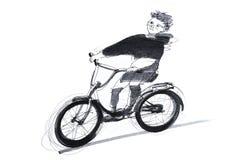 Junge, der ein Fahrrad reitet lizenzfreie abbildung