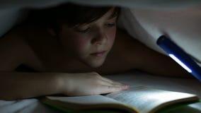 Junge, der ein faszinierendes Buch nachts liest stock video footage