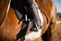 Junge, der ein Pferd in der Ranch reitet lizenzfreie stockfotografie