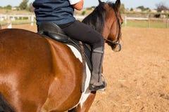 Junge, der ein Pferd in der Ranch reitet stockfotos
