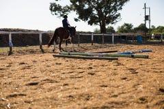 Junge, der ein Pferd in der Ranch reitet lizenzfreie stockbilder