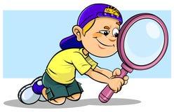 Junge, der ein Vergrößerungsglas hält lizenzfreie abbildung