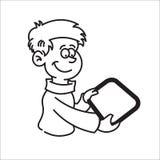 Junge, der eine Tablette und ein Lächeln hält Stockbilder