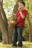 Junge, der einen Apfel isst Lizenzfreies Stockfoto