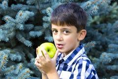 Junge, der einen Apfel isst Stockbilder