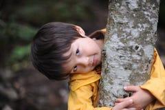 Junge, der einen Baum anhält Stockbild