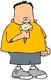 Junge, der einen Eiscreme-Kegel isst lizenzfreie abbildung