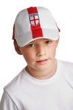 Junge, der England-Fußball-Schutzkappe trägt Stockbilder