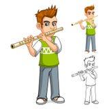 Junge, der Flöten-Zeichentrickfilm-Figur spielt Stockfoto