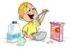 Junge, der frühstückt lizenzfreie abbildung