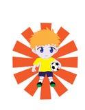Junge, der Fußball anhält Lizenzfreie Stockfotografie