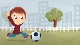 Junge, der Fußball im Park spielt stock video footage
