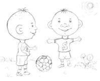 Junge, der Fußball, Skizze spielt stock abbildung