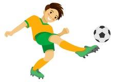 Junge, der Fußball spielt Fußballspieler mit Kugel Stockbilder