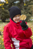 Junge, der gelbes Blatt hält stockfoto