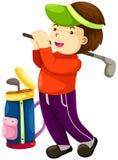 Junge, der Golf spielt vektor abbildung