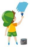 Junge in der grünen Hutmalereiwand mit Blau Stockbilder
