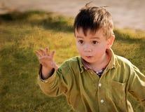 Junge, der heraus erreicht Lizenzfreie Stockfotos