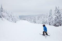 Junge, der hinunter eine einfache Steigung bei Mont-Tremblant Ski fährt Stockbild