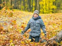 Junge, der im Herbstwald spielt stockbild
