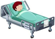 Junge, der im Krankenhausbett krank ist vektor abbildung