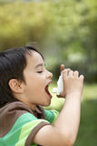 Junge, der Inhalator im Park verwendet stockbilder